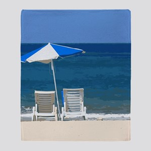 Beach Chairs and Umbrella Throw Blanket