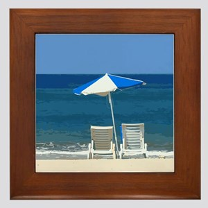 Beach Chairs and Umbrella Framed Tile