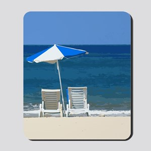 Beach Chairs and Umbrella Mousepad