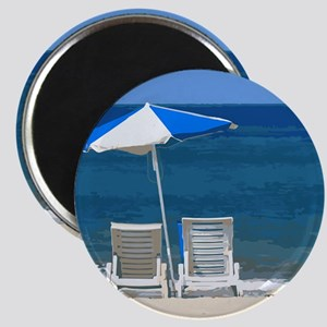 Beach Chairs and Umbrella Magnet