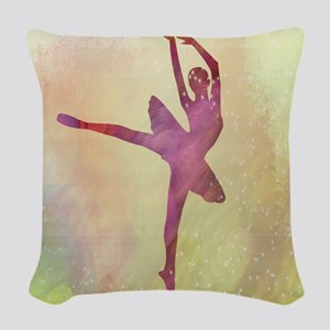 Ballerina Sparkles Woven Throw Pillow