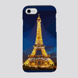 Eiffel Tower Blue Gold Low Poly iPhone 7 Tough Cas