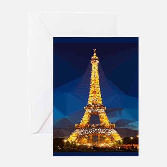 Eiffel Tower Blue Gold Low Poly Greeting Cards
