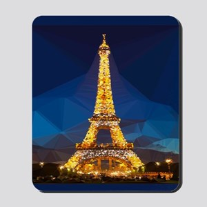 Eiffel Tower Blue Gold Low Poly Mousepad