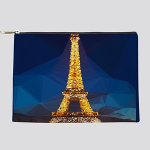 Eiffel Tower Blue Gold Low Poly Makeup Pouch