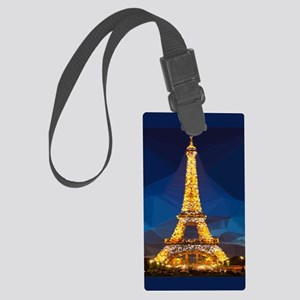 Eiffel Tower Blue Gold Low Poly Large Luggage Tag