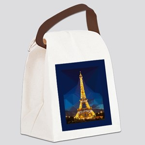 Eiffel Tower Blue Gold Low Poly Canvas Lunch Bag