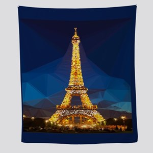 Eiffel Tower Blue Gold Low Poly Wall Tapestry