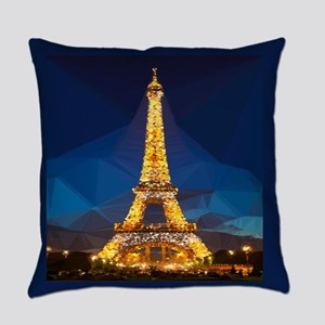 Eiffel Tower Blue Gold Low Poly Everyday Pillow