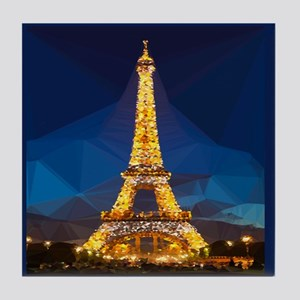 Eiffel Tower Blue Gold Low Poly Tile Coaster