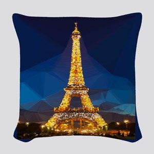 Eiffel Tower Blue Gold Low Poly Woven Throw Pillow