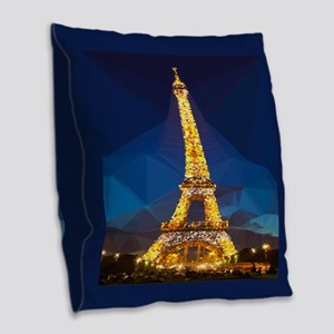 Eiffel Tower Blue Gold Low Poly Burlap Throw Pillo