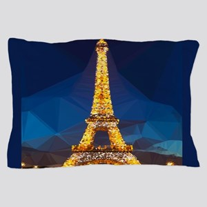 Eiffel Tower Blue Gold Low Poly Pillow Case