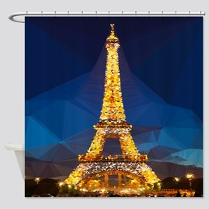 Eiffel Tower Blue Gold Low Poly Shower Curtain