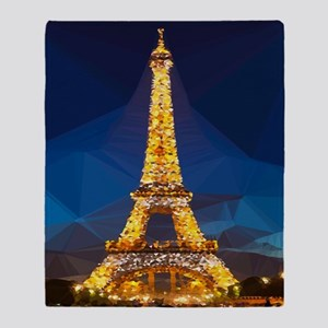 Eiffel Tower Blue Gold Low Poly Throw Blanket