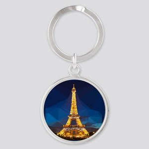 Eiffel Tower Blue Gold Low Poly Keychains