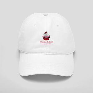 CUSTOM Cupcake w/Baby Name Date Baseball Cap
