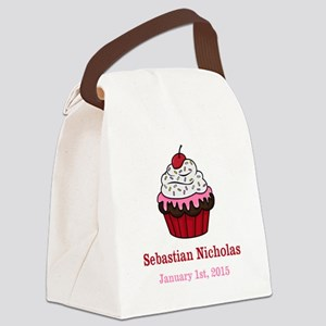 CUSTOM Cupcake w/Baby Name Date Canvas Lunch Bag