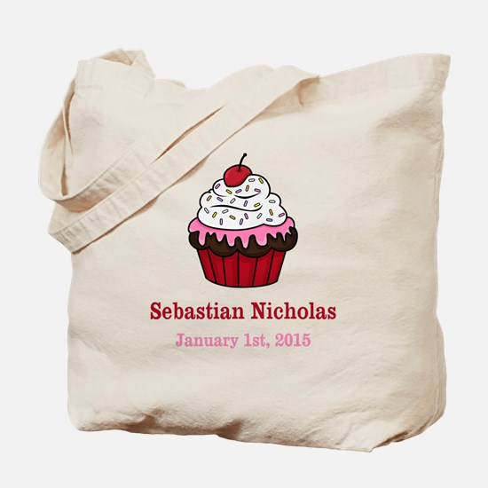 CUSTOM Cupcake w/Baby Name Date Tote Bag