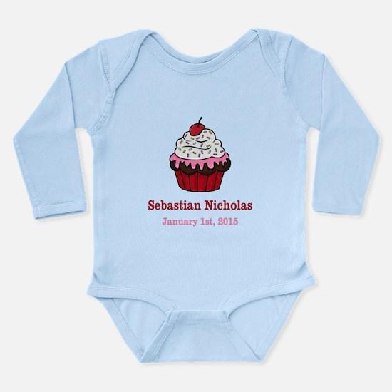CUSTOM Cupcake w/Baby Name Date Body Suit