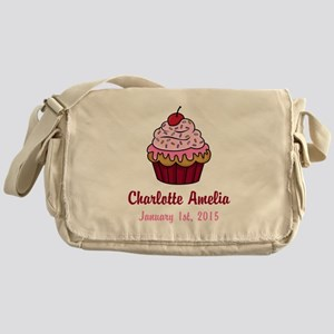 CUSTOM Cupcake w/Baby Name and Date Messenger Bag