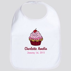 CUSTOM Cupcake w/Baby Name and Date Bib