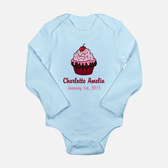 CUSTOM Cupcake w/Baby Name and Date Body Suit