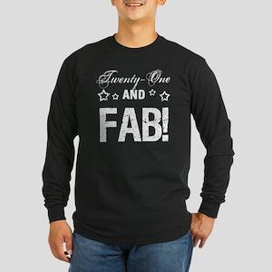 Fabulous 21st Birthday Long Sleeve Dark T-Shirt