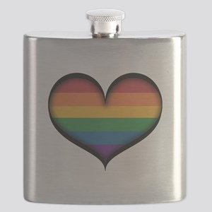 LGBT Rainbow Heart Flask