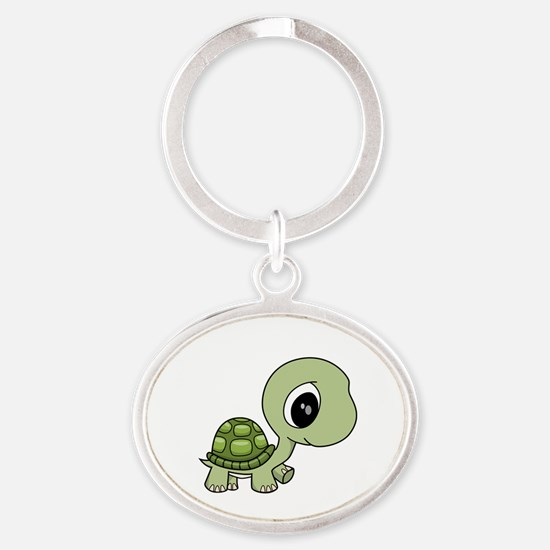 Baby Turtle Oval Keychain