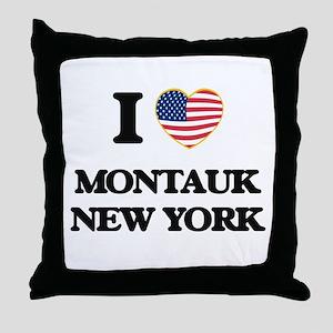 I love Montauk New York Throw Pillow