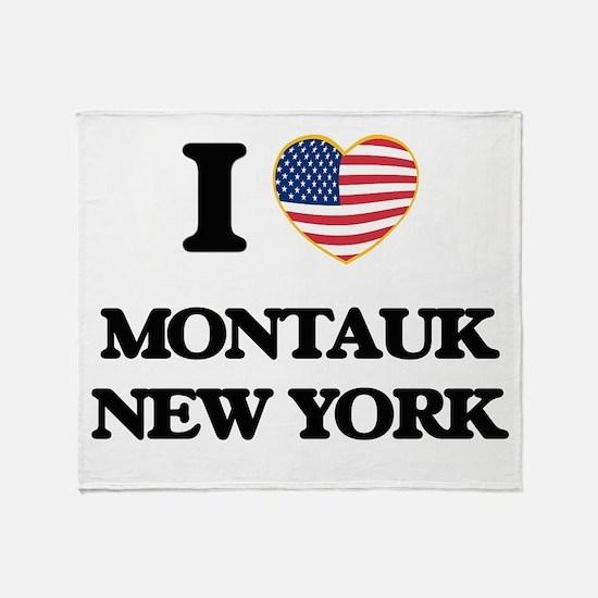 I love Montauk New York Throw Blanket