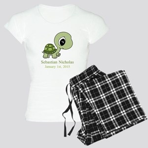 CUSTOM Green Baby Turtle w/Name and Date Pajamas