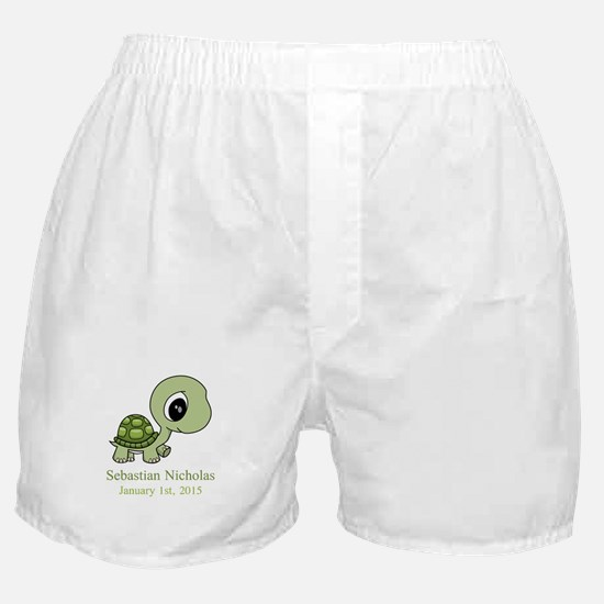 CUSTOM Green Baby Turtle w/Name and Date Boxer Sho