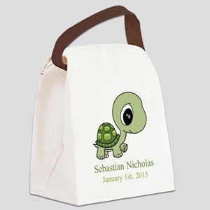 CUSTOM Green Baby Turtle w/Name and Date Canvas Lu