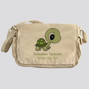 CUSTOM Green Baby Turtle w/Name and Date Messenger