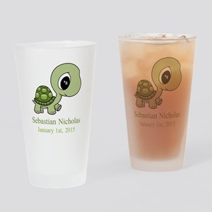 CUSTOM Green Baby Turtle w/Name and Date Drinking