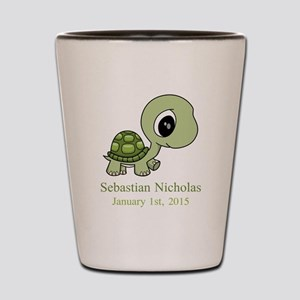 CUSTOM Green Baby Turtle w/Name and Date Shot Glas