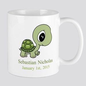 CUSTOM Green Baby Turtle w/Name and Date Mugs