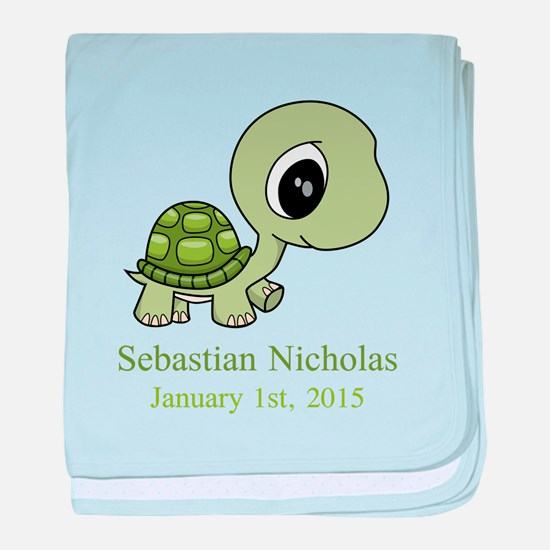 CUSTOM Green Baby Turtle w/Name and Date baby blan