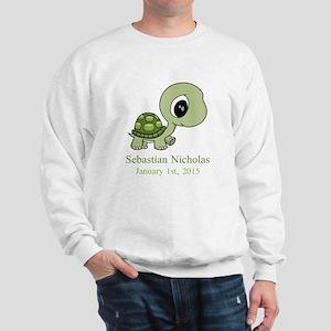 CUSTOM Green Baby Turtle w/Name and Date Sweatshir