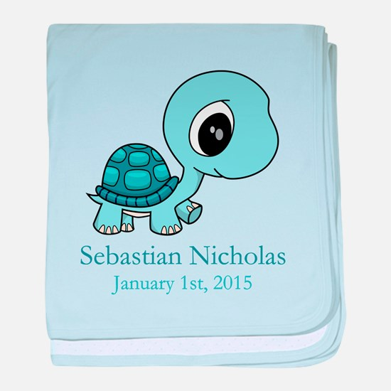 CUSTOM Baby Blue Turtle w/Name and Date baby blank