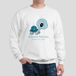 CUSTOM Baby Blue Turtle w/Name and Date Sweatshirt