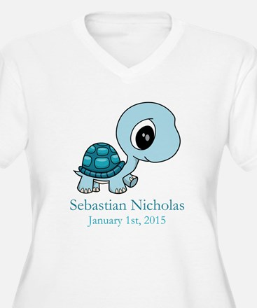CUSTOM Baby Blue Turtle w/Name and Date Plus Size