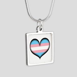 Transgender Heart Silver Square Necklace