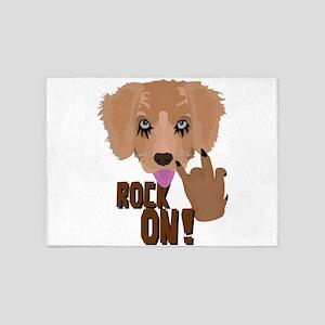 Heavy metal Puppy rock on 5'x7'Area Rug