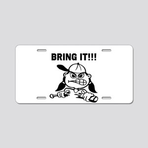 Mean Softball Player Aluminum License Plate