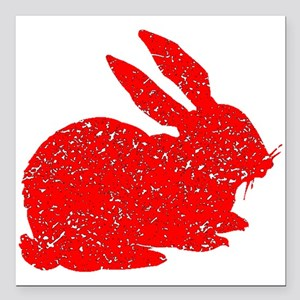 "Distressed Red Bunny Square Car Magnet 3"" x 3"""