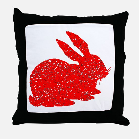 Distressed Red Bunny Throw Pillow