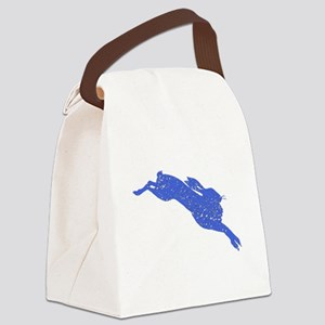 Distressed Blue Hare Canvas Lunch Bag